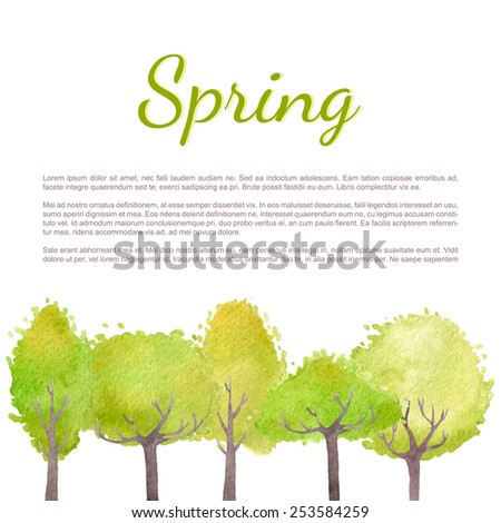 Spring background with fresh green trees. Vector watercolor. - stock vector