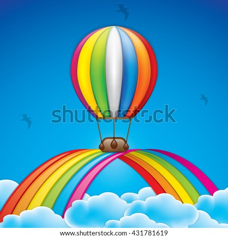 Spring background with hot air balloon and rainbow - stock vector