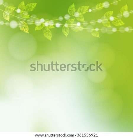 Spring  background with  leaves and bokeh lights, vector illustration - stock vector