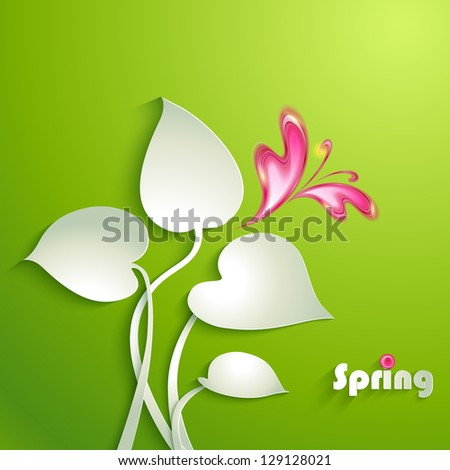Spring background with leaves and butterfly - stock vector
