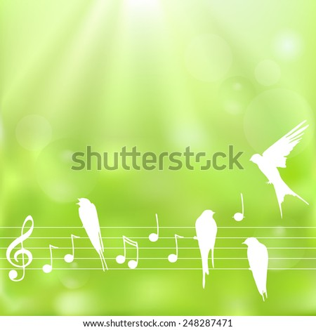 Spring background with notes and birds on a  blurred  green background - stock vector