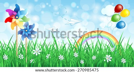 Spring background with pinwheels and rainbow, vector eps10 - stock vector