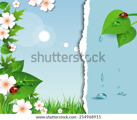 Spring background with sky, flowers, grass and a ladybug. Vector. - stock vector