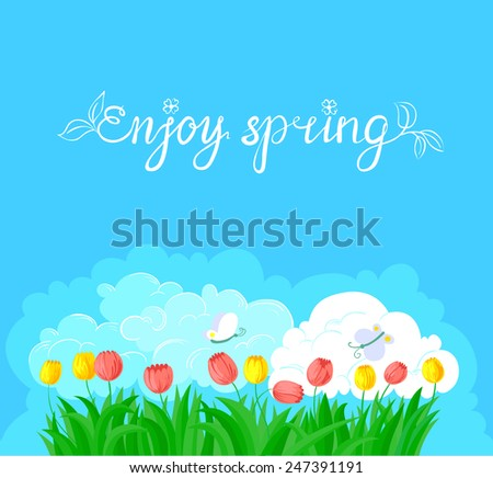 Spring background with tulips and butterfly - stock vector