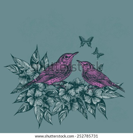 Spring background with two pink birds and butterflies, hand-drawing. Vector illustration. - stock vector