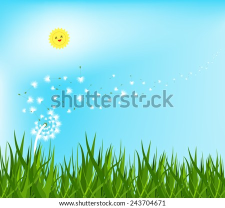 spring background with white dandelions - stock vector