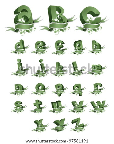 Spring banner alphabet letters icon symbol set EPS 8 vector, grouped for easy editing. No open shapes or paths. - stock vector