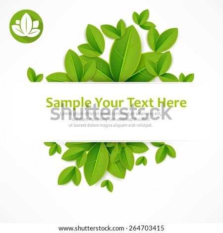 Spring banner, fresh green leaves on white & text, vector illustration - stock vector