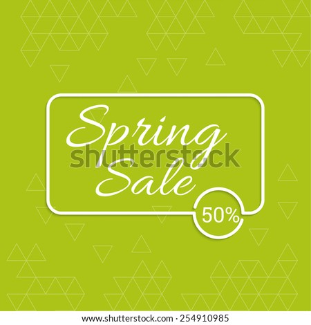 spring banner. special offer, discount and percentages, price. Green abstract background with triangles - stock vector