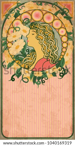 Spring banner with girl in art nouveau style, vector illustration