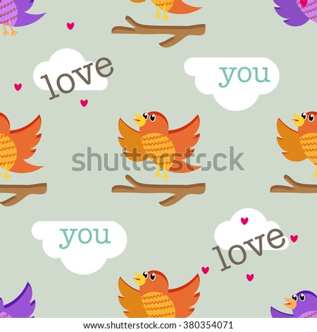Spring birds cartoon seamless pattern. Colorful texture on white background - stock vector