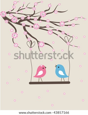 Spring birds couple. Vector valentine card. - stock vector