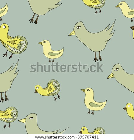 Spring birds seamless pattern. Colorful texture on background - stock vector