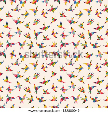 Spring birds seamless pattern. Colorful texture on white backgro - stock vector