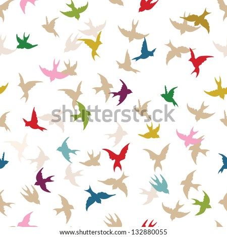 Spring birds seamless pattern. Colorful texture on white backgro? - stock vector