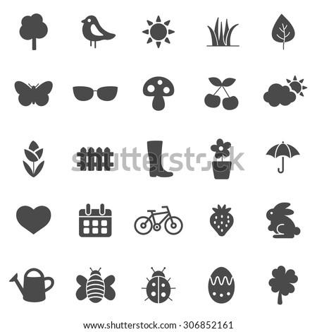 Spring Black Icons Set.Vector - stock vector
