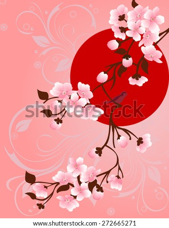 Spring. Blooming tree and birds for your design - stock vector