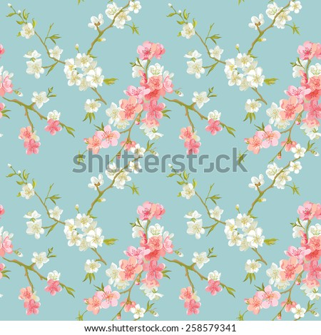 Spring Blossom Flowers Background - Seamless Floral Shabby Chic Pattern - in vector - stock vector
