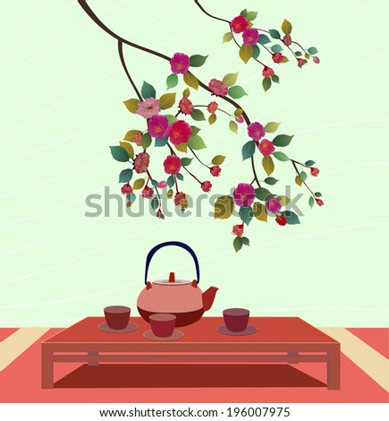 Spring blossom trees .Tea ceremony.Menu  - stock vector