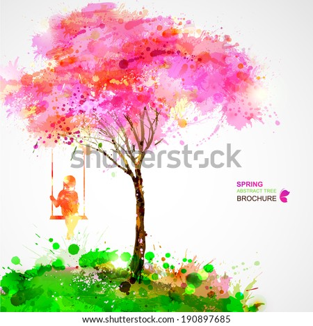 Spring blossoming tree. Dreaming girl on swing. - stock vector