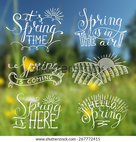 Spring blurred background with labels - stock vector