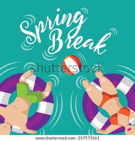 Spring break Floating couple design. EPS 10 vector illustration. - stock vector