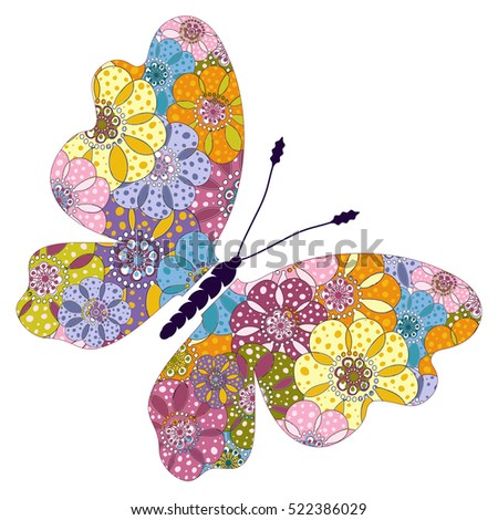 Spring bright colorful floral butterfly isolated on white, vector