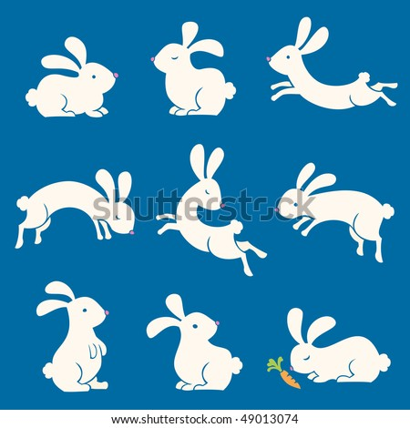 Spring Bunnies - stock vector