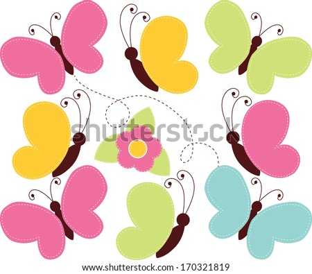 Spring Butterflies - stock vector