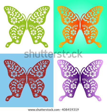 Spring butterfly color composition. Vector illustration layered for easy manipulation and custom coloring. Vector illustration - stock vector