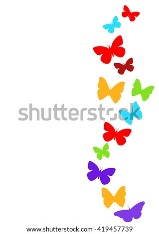 Spring butterfly colorful composition. Vector illustration layered for easy manipulation and custom coloring - stock vector