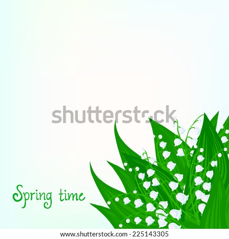 Spring card background with lily of the valley flowers and soft sun lights. Vector illustration for soap packaging, or mother's day postcard