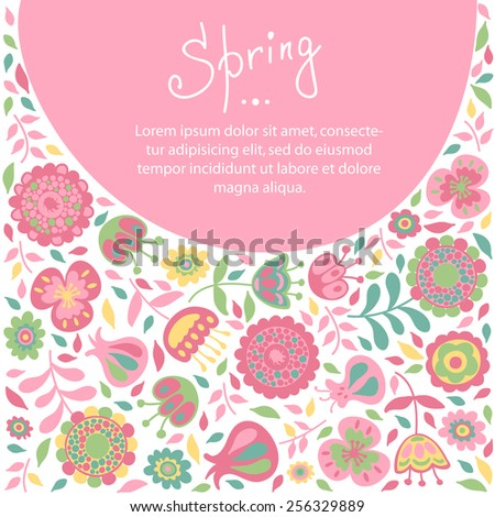 Spring card for congratulations floral background - stock vector