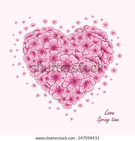Spring card with beautiful sakura flowers. Valentine's day vector illustration of cherry blossom flowers in the shape of heart - stock vector