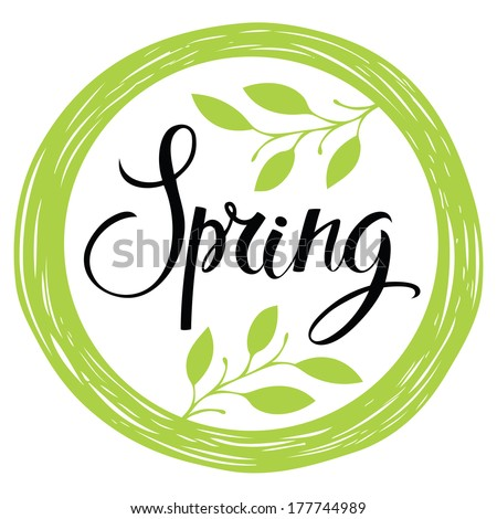 Spring card with circle frame and leaves - stock vector