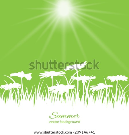 Spring card with flowers and grass on green background - stock vector