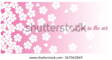 Spring Cherry blossoms, pink flowers, pink Japanese background. Horizontal banner - stock vector