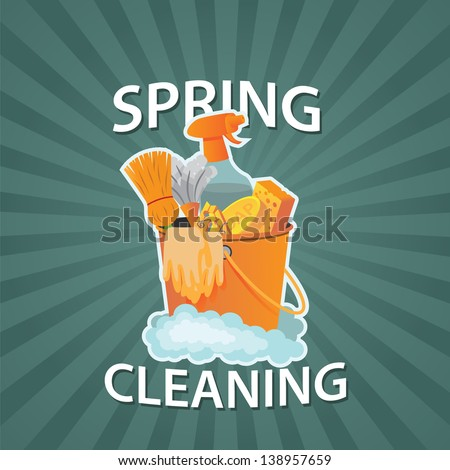 Spring Cleaning Burst Design Element. EPS 10 vector, grouped for easy editing. No open shapes or paths. - stock vector
