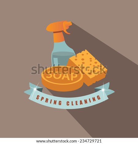 Spring cleaning flat design EPS 10 vector stock illustration - stock vector