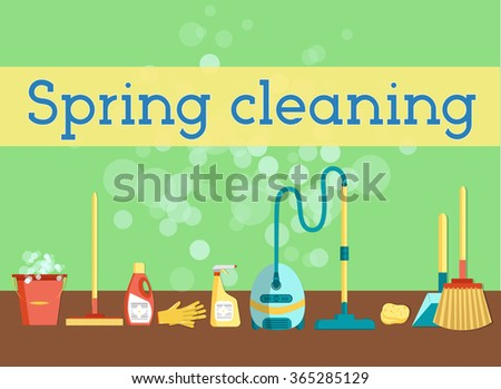 Spring cleaning minimal and colorful flat vector graphics for web site, poster, banner, flier or print. Set of cleaning tools and household supplies. - stock vector