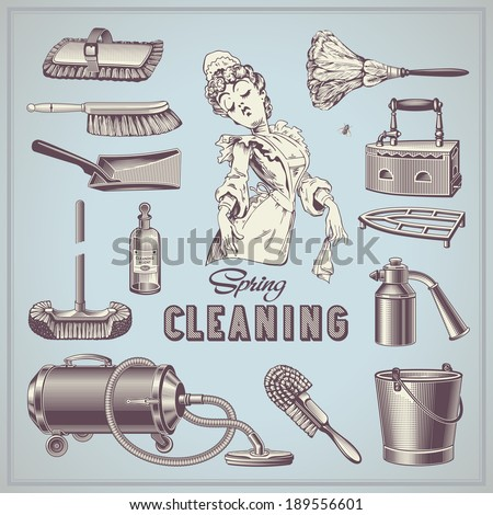 spring cleaning - set of hand-drawn vintage household items - stock vector