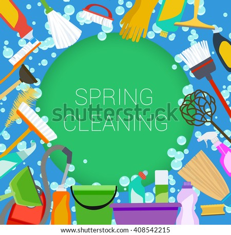 Spring cleaning supplies frame on green and blue. Tools of housecleaning background. Vector - stock vector