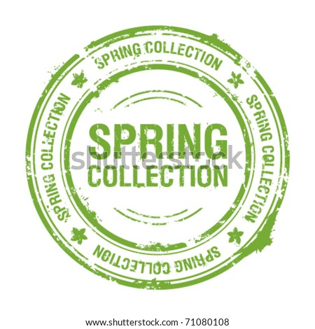 spring collection rubber stamp - stock vector