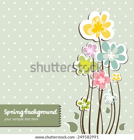 Spring colorful floral background with vintage dots - stock vector