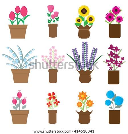 Spring colorful flowers pot. Flat vector illustration design. Decoration for house, gardening, interior, exterior, scrapbook, print etc. - stock vector