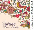 Spring coming card. Floral background, spring theme, greeting card. Template design can be used for packaging,invitations, Valentine's Day decoration,bag template, print for packet, cup. - stock vector