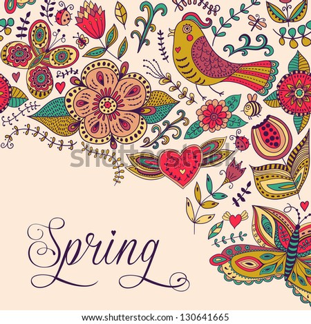 Spring coming card. Floral background, spring theme, greeting card. Template design can be used for packaging,invitatio ns, Valentine's Day decoration,bag template, print for packet, cup. - stock vector