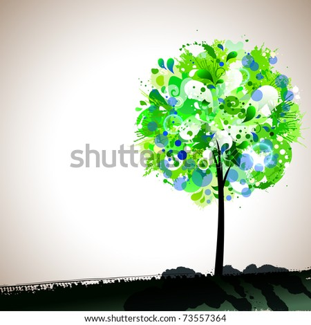 spring composition with tender tree - stock vector