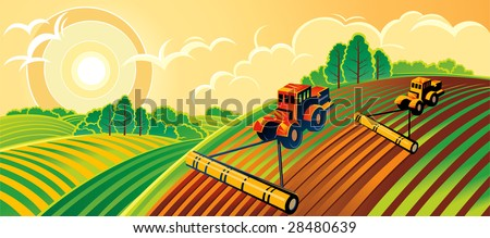 Spring country landscape with two tractors - stock vector