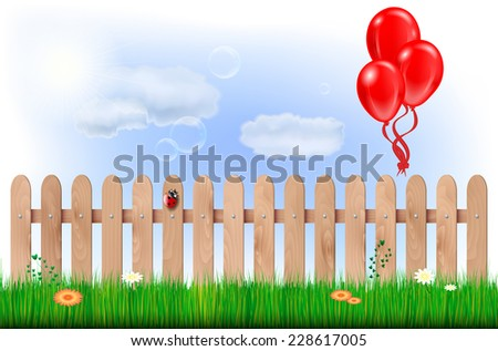 Spring countryside with wooden fence, grass, flowers, blue sky, clouds and inflatable balloons - vector illustration - stock vector